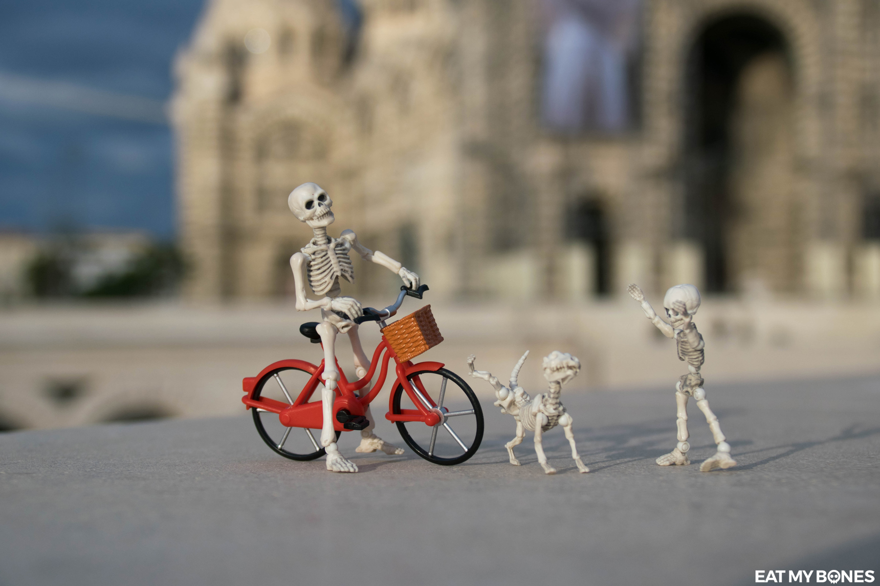 Eat my Bones Skeleton Photography Marseille bicycle