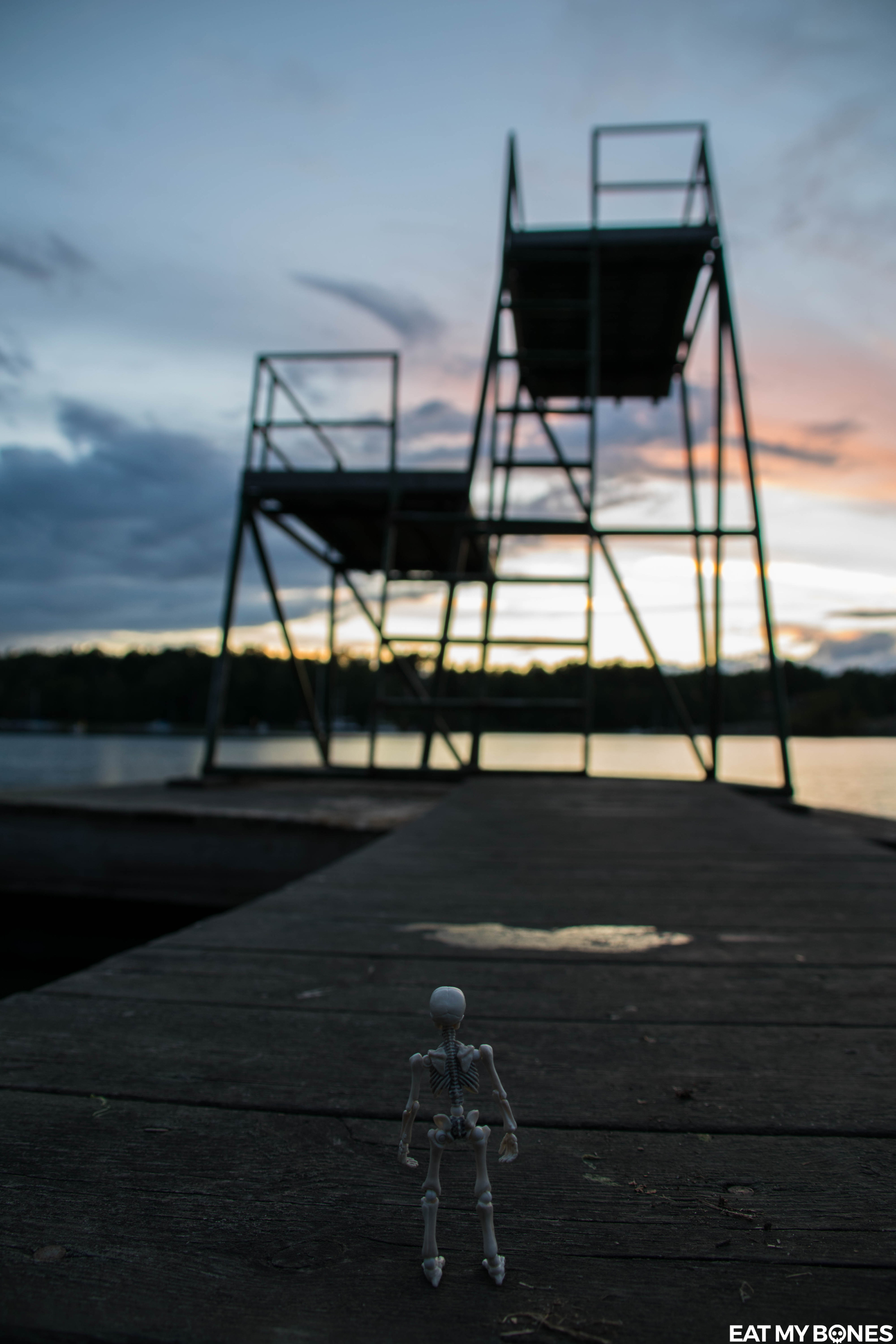 Sweden trip : Evening seaside Walk - Pose Skeleton - Toy photography - Miniature - Eat my Bones