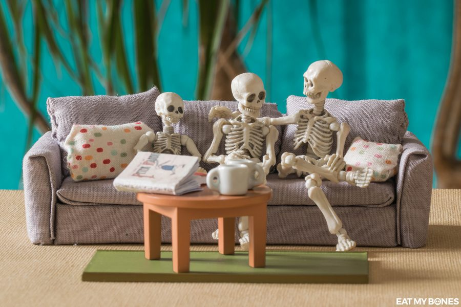 A couch for the skeleton family